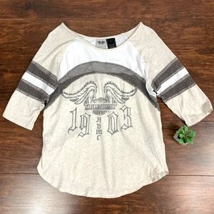 Harley-Davidson Scoop Neck Mesh Knit Graphic Tee